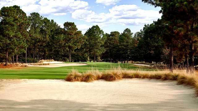 View of a green from the Pines Course at the Country Club of Whispering Pines.