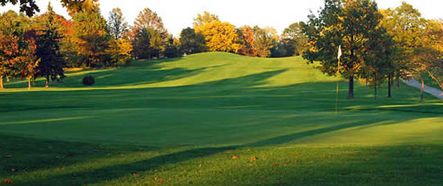 Looking back from a green at Hinckley Hills Golf Course