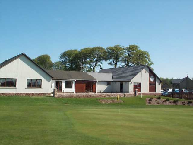 A view of the clubhouse and the 18th hole at Duns Golf Club