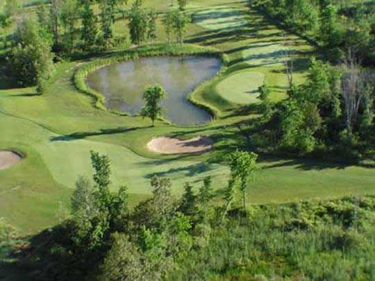 Aerial view of hole #6 at Cardinal 18 Golf Club.