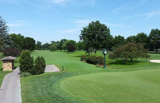 A view of tee #1 and practice putting green at Butler Country Club