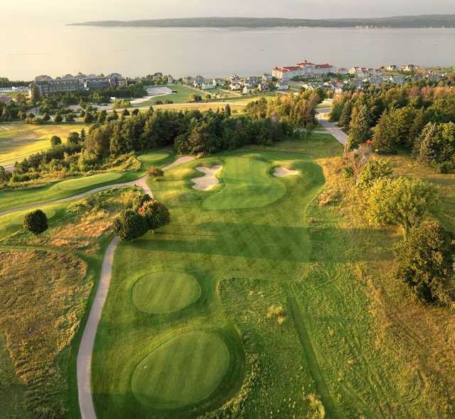 Aerial view of the 15th hole at Crooked Tree