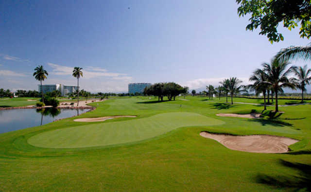 Water come into play on many holes from The Nicklaus Design Course at Vidanta Nuevo Vallarta