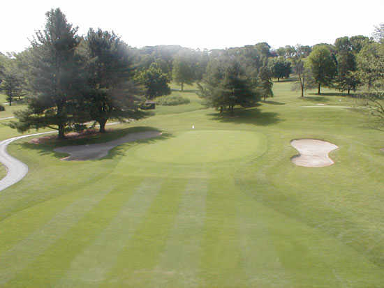 A view of the 16th rgeen at Range End Country Club
