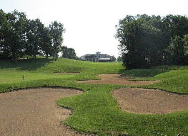 A view over some tricky bunkers from Winghaven Country Club