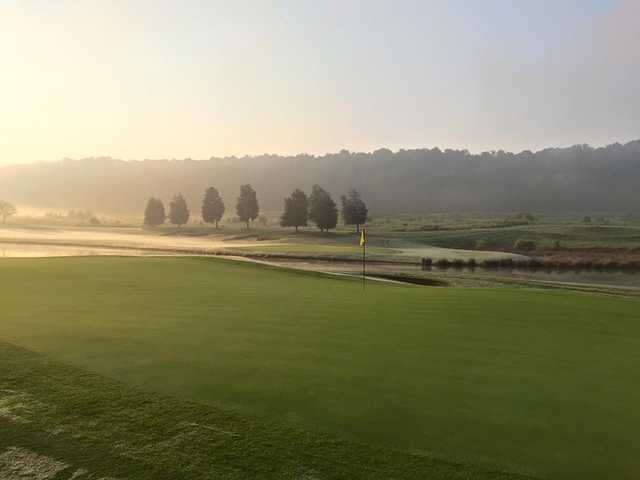 A view of a green with water coming into play at Tennessee National Golf Club
