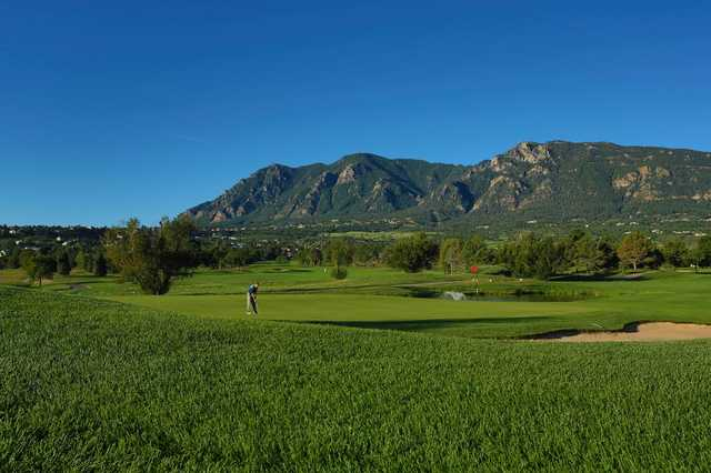 A view of a hole with water coming into play from the Country Club of Colorado at Cheyenne Mountain Resort.