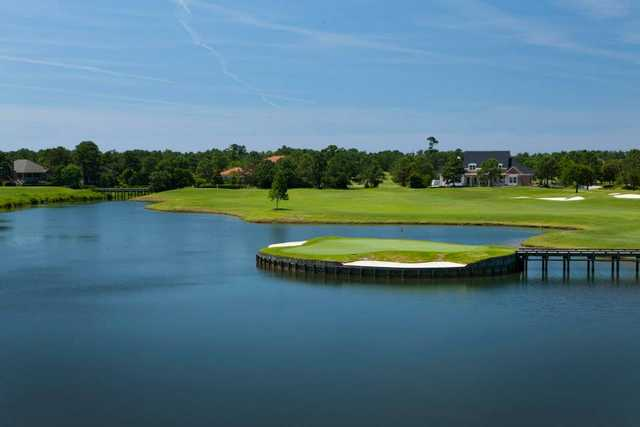 A view of the island green at Country Club of Landfall
