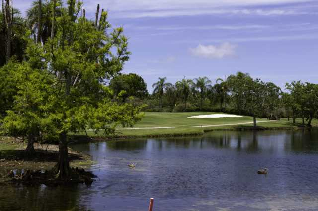 A view over the water of a green at Manatee County Golf Course