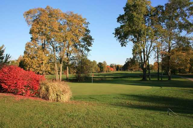 A fall day view of a hole at Maple Creek Golf & Country Club
