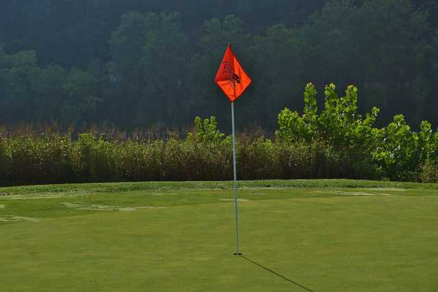 A view of a hole from Pete Dye River Course of Virginia Tech