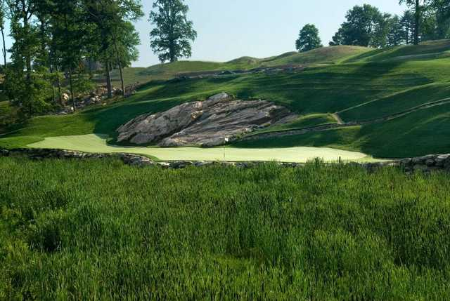 """A view of the 15th green named """"Headstone"""" at Pound Ridge Golf Club"""