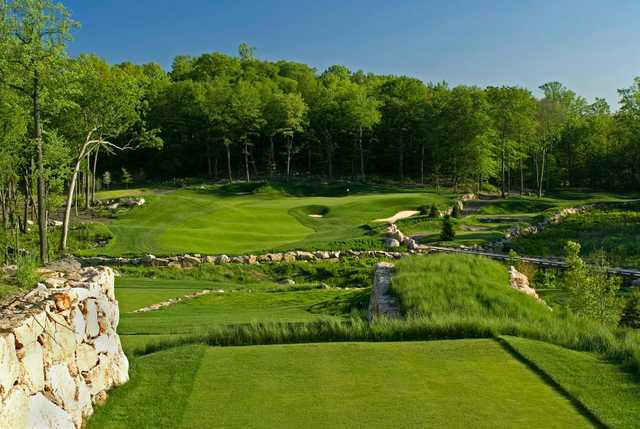 """A view from tee #11 of the """"Refuge"""" green at Pound Ridge Golf Club"""
