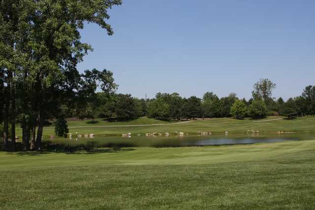 A view of the 10th tee at Ruffled Feathers Golf Club