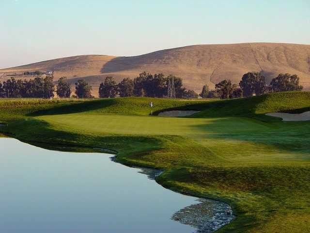 A view of green #2 with water coming into play at Zinfandel from Poppy Ridge Golf Course