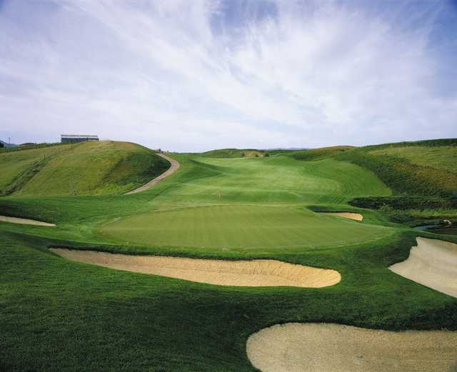 A view of a well protected green at Poppy Ridge Golf Course