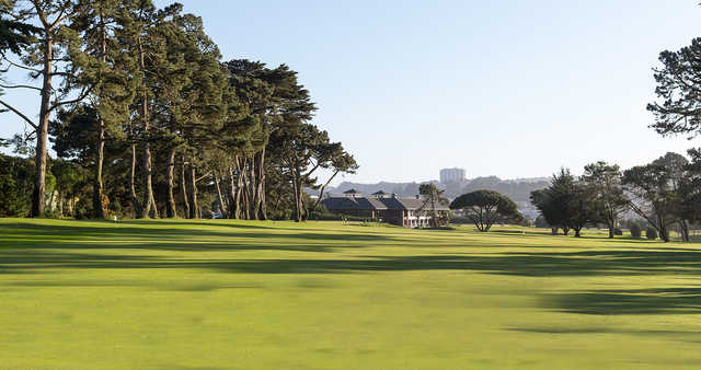 A view from a fairway at Lake Merced Golf & Country Club