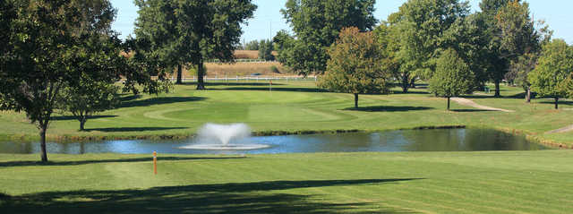 View of a green and fairway at Shamrock Hills Golf Course