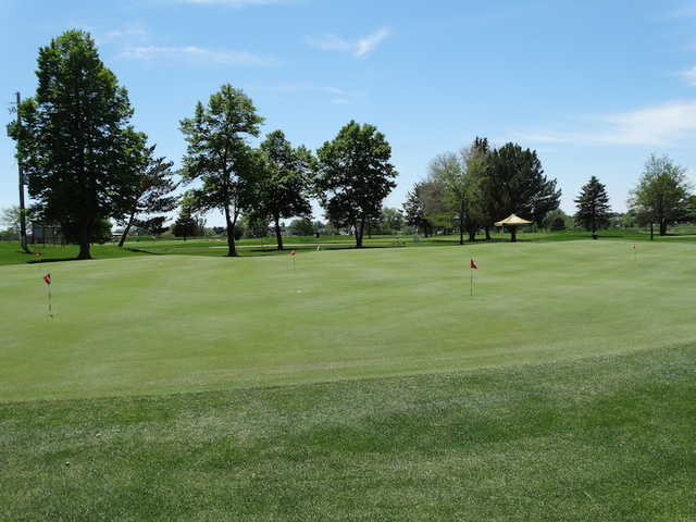A view of the practice area at CommonGround Golf Course