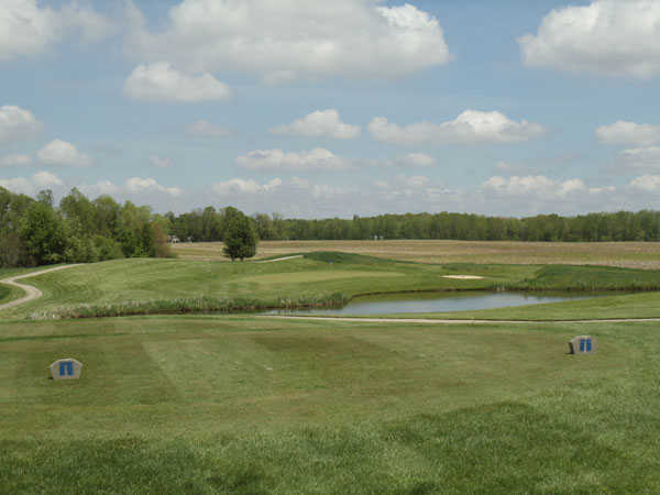 View of the 17th hole from the tee at Stonehenge Golf Club
