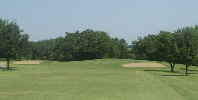 A view of green #1 at Corsicana Country Club