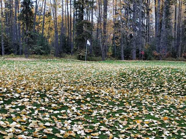 A fall day view of a hole at Edson Golf and Country Club