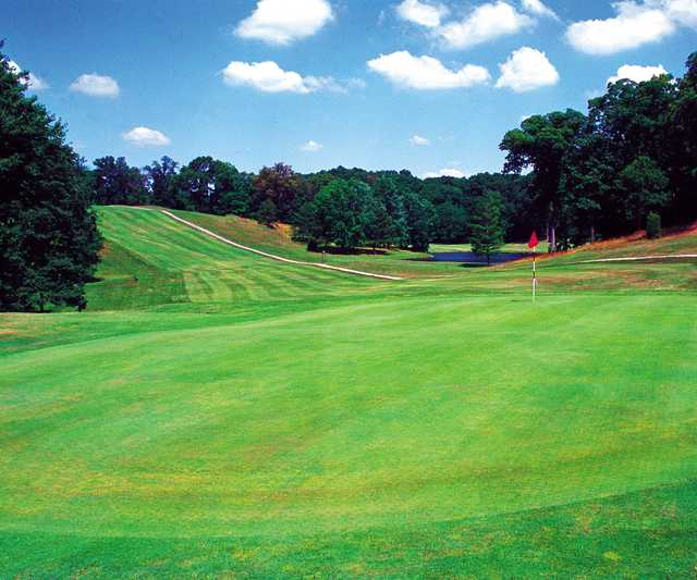 A view of a green at Christmas Lake Golf Course
