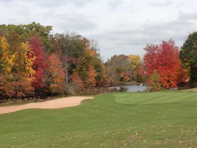 A fall day view of hole #2 at Quail Brook Golf Course