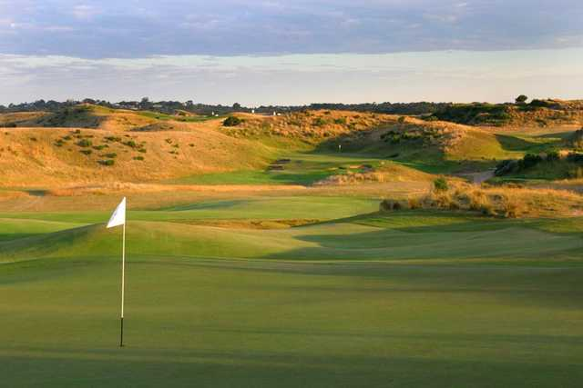 A view of a hole at The Dunes Golf Links
