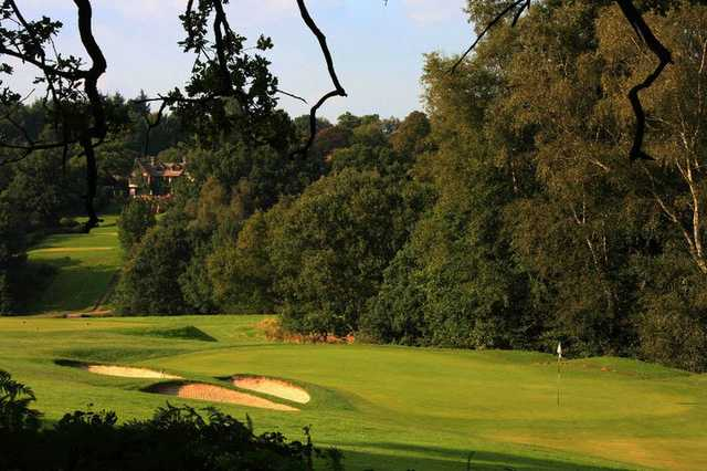 View of a hole and bunkers from the Waterfall Course at Mannings Heath Golf Club