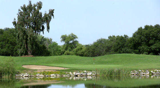 A view of green #3 with water in foreground and bunker on the left at Turkey Creek Golf Club