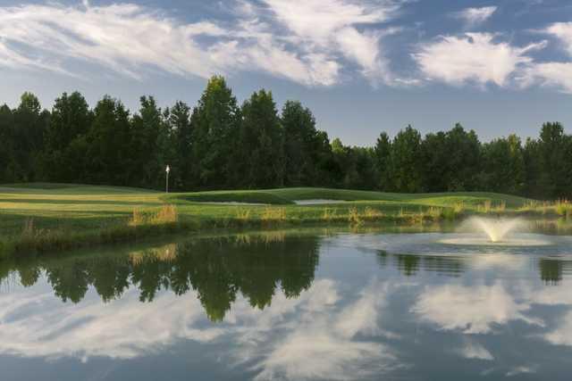 View of the par 3 8th hole at Oak Creek Golf Club