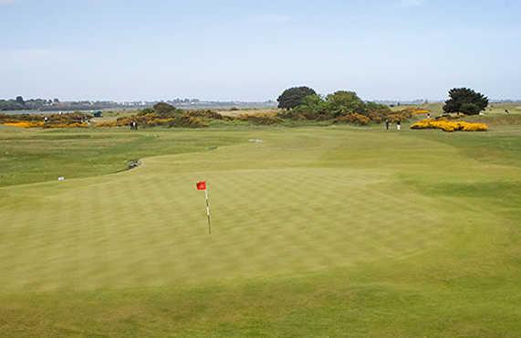 A view of a green at The Royal Dublin Golf Club