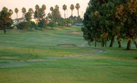 A view with bunkers in background at Recreation Park American Golf Club