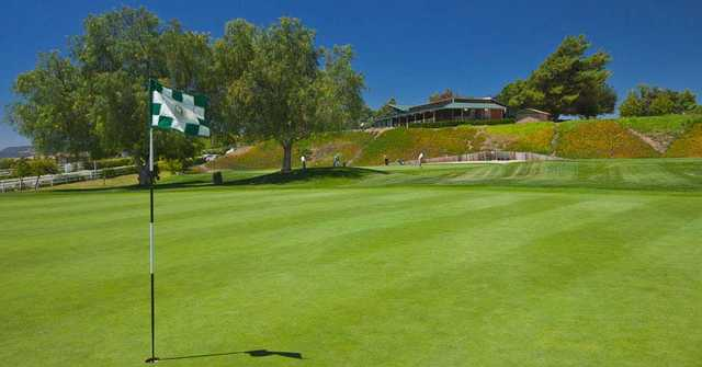 A view of from a green of the clubhouse at The Golf Club from Rancho California
