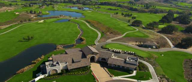 Aerial view of the clubhouse at Eagle Vines Golf Club