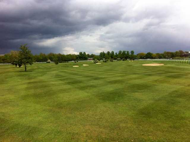 A cloudy day view from Sandown Park Golf Centre