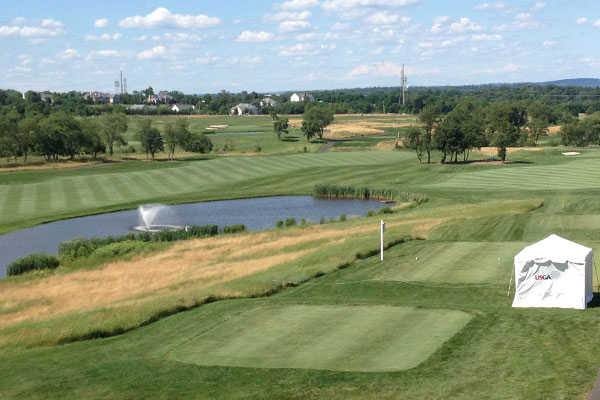A view of a tee at Neshanic Valley Golf Course
