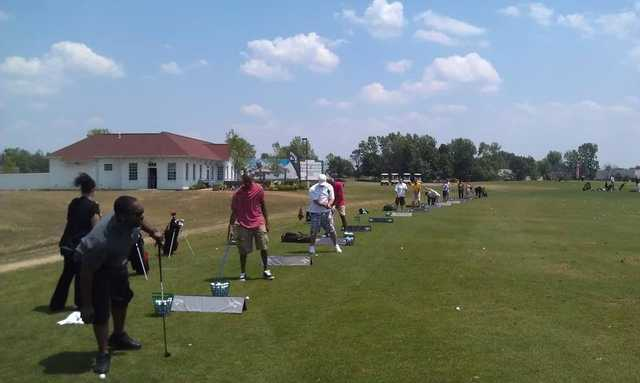 A view of the driving range tees at The Golf Depot