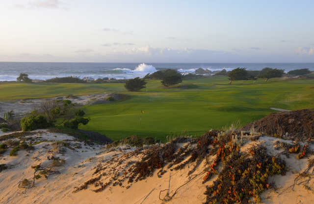 Pacific Grove's 13th hole: View from above green at dusk