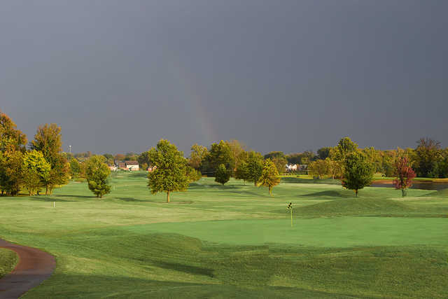 A fall day view of a green at Eagle Valley Golf Course