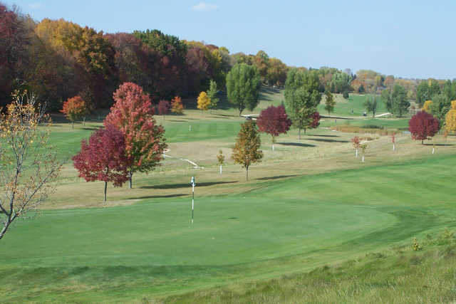 A fall day view of a hole at Mayville Golf Club