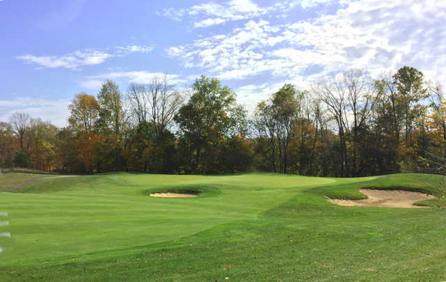 A view of a hole protected by bunkers at Twin Bridges Golf Club.
