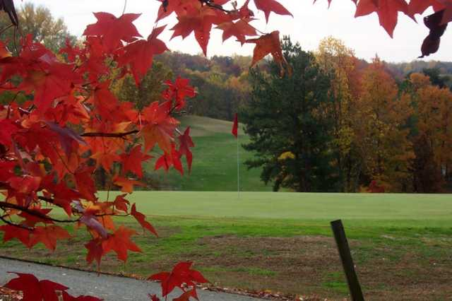 A fall day view of a hole at Aquia Harbour Golf & Country Club