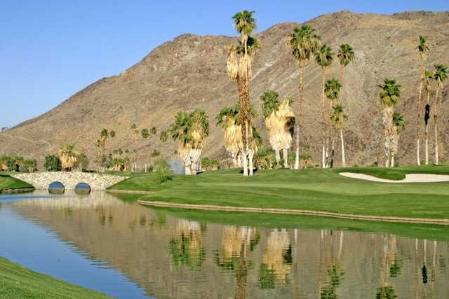 A view of the bridge to the 9th hole at South Course from Indian Canyons Golf Resort.