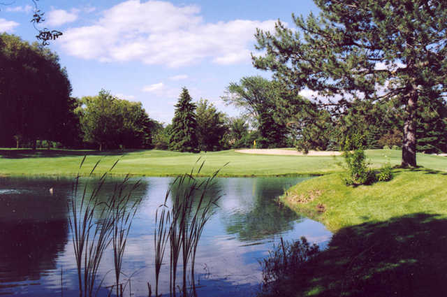 A view of a green with water coming into play at Villa Olivia Country Club