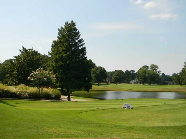 A sunny day view of a tee at Jackson Country Club