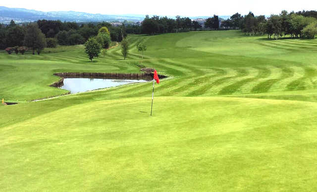 A view of a green with water coming into play at Rishton Golf Club
