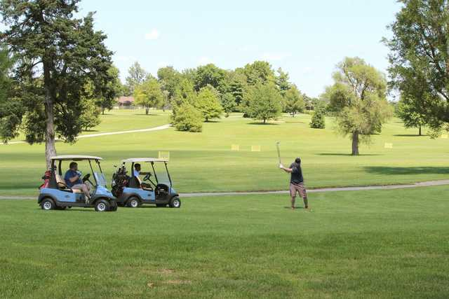 A view of the driving range at Bill & Payne Stewart Golf Course