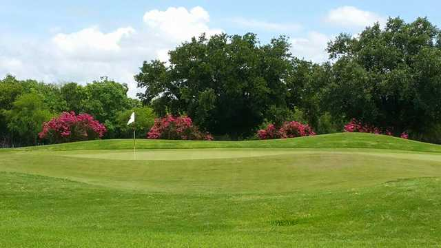 A view of a green at Randolph Oaks Golf Course